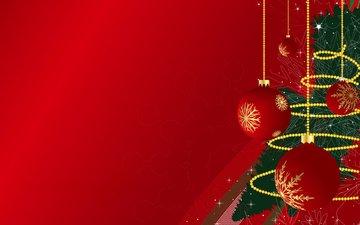 новый год, шары, красный