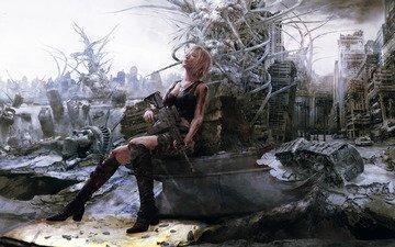 фантастика, руины, автомат, parasite eve, айя бреа