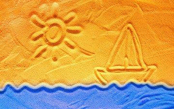 рисунок, солнце, волны, песок, парусник