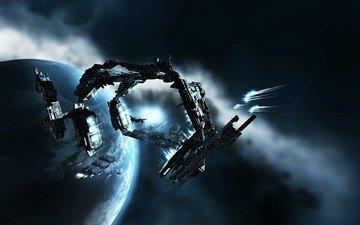 корабли, планета, туманность, eve-online