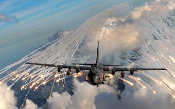 небо, облака, самолет, полет, огонь, дым