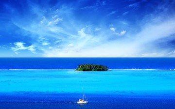 синий, море, лодка, остров, тропики