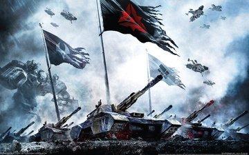 tanks, flags, supreme commander