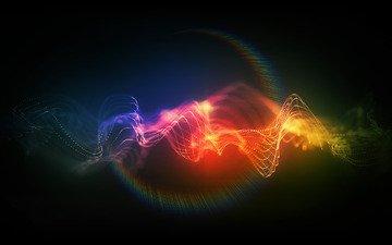 свет, линии, цвет, движение, точки, спектр