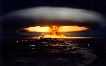ночь, война, ядерный взрыв, ночной взрыв атомной бомбы.