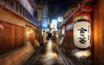 полоса, япония, иероглифы, фонарь, дороги, знаки