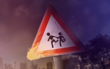 люди, огонь, пожар, знак