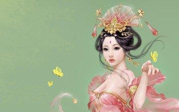 девушка, настроение, аниме, бабочки, ветер