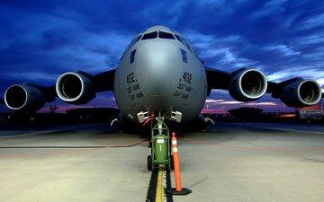 самолет, военный, аэропорт, большой