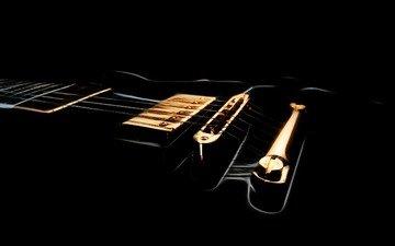 фон, гитара, черный, гриф, струны, звукосниматель, дека, очертания