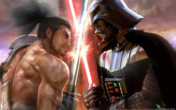battle, star wars, swords, katana, darth vader vs samurai, soul calibur 4