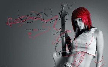 девушка, гитара, любовь к музыке