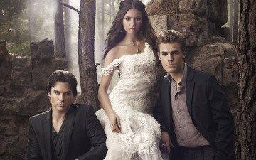 the vampire diaries, elena, damon, stefan, season 2