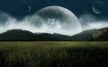 горы, поле, планеты, долина, спутники