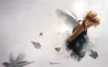 девушка, фея, листы