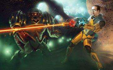 freeman, half-life, laser