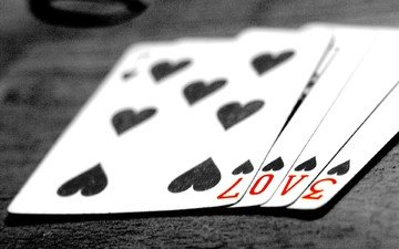 карты, любовь, чб