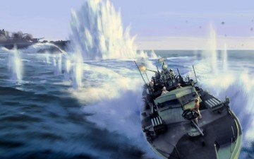 war, battle, shooting, explosions, boat