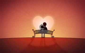 сердце, любовь, скамейка, влюбленная