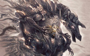 девушка, дракон, монстр, змеи, rafi adrian zulkarnain - asaramiz nagas