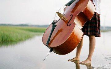 вода, обои, настроение, пляж, человек, музыкальный инструмент