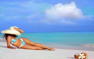 пляж, купальник, загар, шляпка, дама