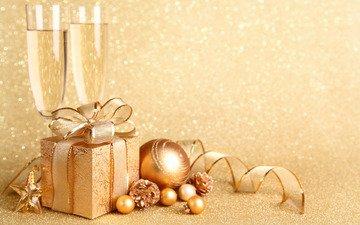шары, зима, блеск, игрушки, подарок, праздник, рождество