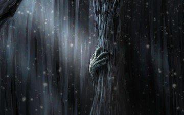 figure, tree, hand