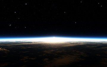 облака, земля, звезды, планета, горизонт, свечение, галактика, космическая, звезд