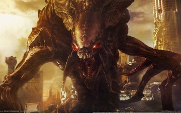 art, the city, monster, devastation, fangs, starcraft 2