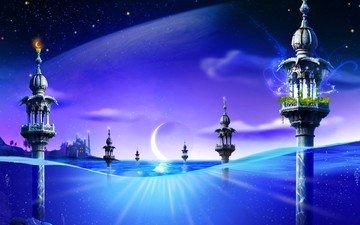 вода, синий, луна, фантазия, башни