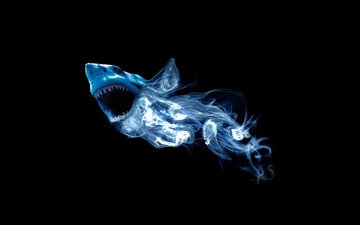 абстракция, дым, акула