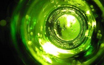 зелёный, стекло, бутылка