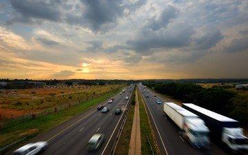 дорога, облака, машины, шоссе