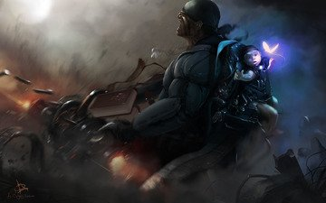 fiction, graphics, soldiers, child, machine, danger, shootout, survival, cyber-punk, drawing