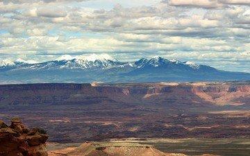 горы, тучи, каньон
