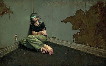 figure, zombies, people, room, network