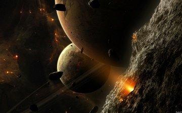 планеты, космическое, пространство, астеройды