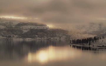 озеро, туман, ландшафт