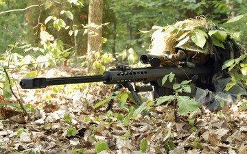 forest, sniper, rifle, ambush