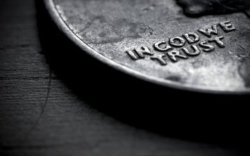 макро, слова, монета, in god we trust