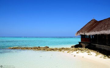 вода, море, песок, голубой, остров, хижина