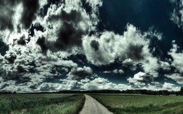 дорога, обои, пейзаж, поле, на природе, автодорога