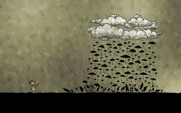 clouds, photographer, umbrellas