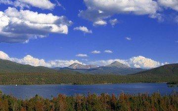 облака, деревья, озеро, лес