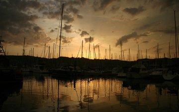 обои, пейзаж, лодки, пристань, бухта, гавань