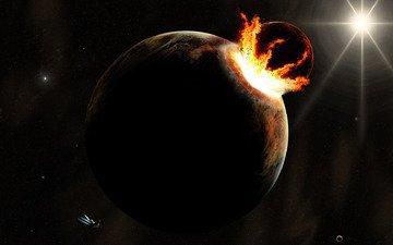 корабль, планеты, столкновение.разрушение