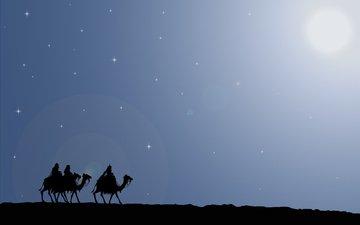 дорога, подарки, звезда, путь, рождество, путешествие, верблюды, волхвы, вифлеем, дары