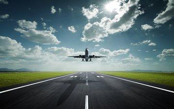 небо, солнце, самолет, тень, трасса, аэропорт