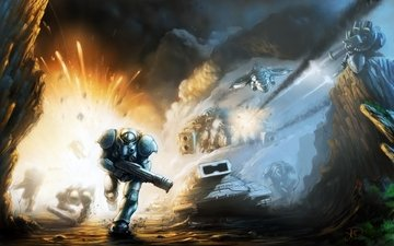 weapons, tanks, the explosion, gun, starcraft 2, infantryman